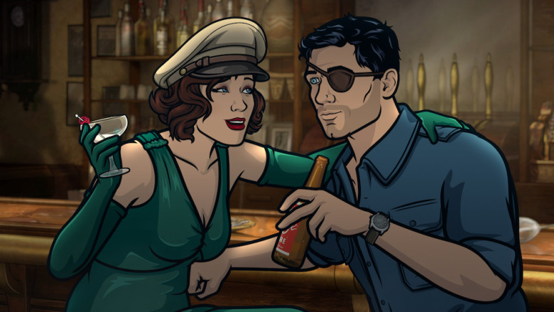 "ARCHER -- ""Season 9, Episode 1 -- Pictured (l-r): Charlotte Vandertunt (voice of Judy Greer), Sterling Archer (voice of H. Jon Benjamin). CR: FXX"
